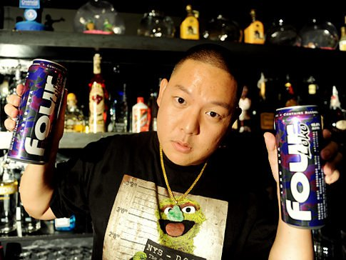 Eddie Huang owner of the bar Xiao Ye, that is serving all you can drink Four Loko cans to rebel New York trying to ban the drink. Original Filename: AJT_5201.JPG